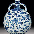 A fine and rare blue and white 'thousand butterflies' moonflask, bianhu, qianlong