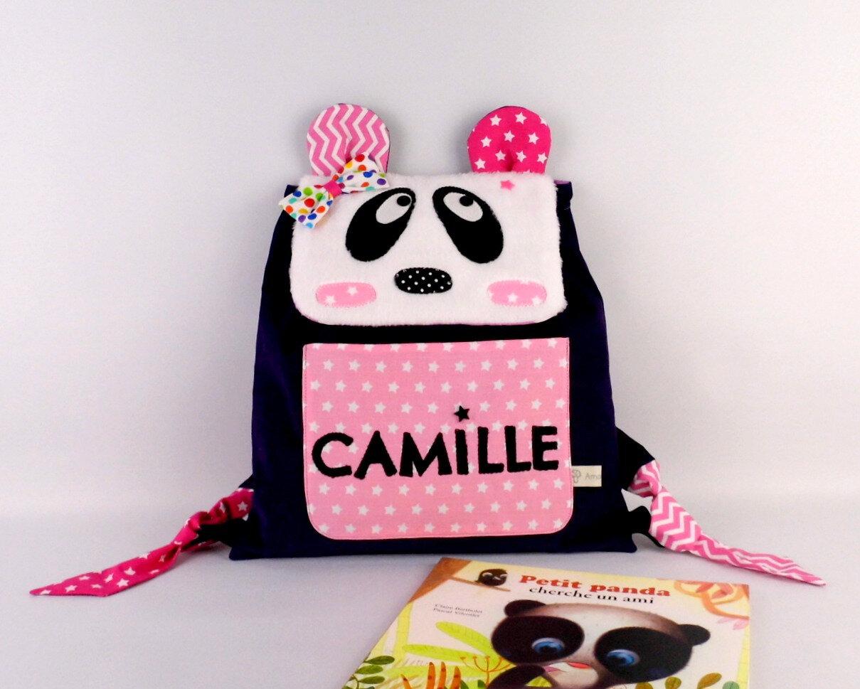 Cartable maternelle personnalisé prénom sac à dos panda fille Camille