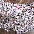 Culotte BIANCA en coton imprimé patch multicolore - noeud de velours rose buvard (2)