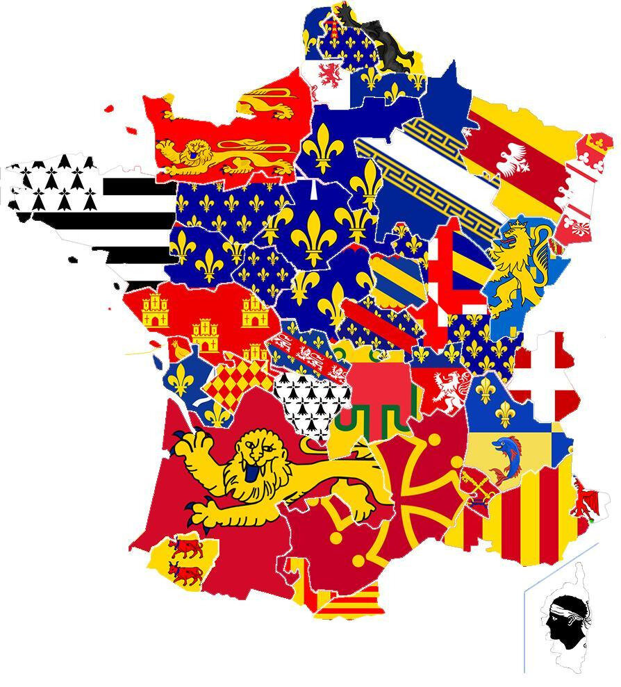 Map and Flags of Provinces in France