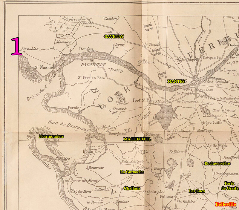 1 Carte pour servir aux opérations de la Guerre de Charette