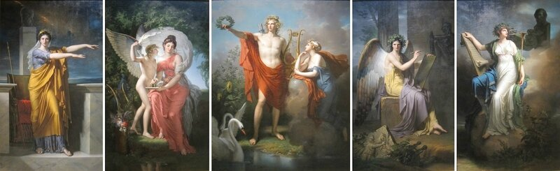 Apollo_and_the_Muses,_oil_on_canvas_pentyptych_by_Charles_Meynier wiki