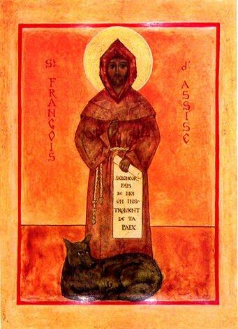 Icône de Saint François et Frère Loup