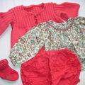 gilet 3 mois modèle et fleur de coton corail la droguerie. Blouse, bloomer, chaussettes, Bonpoint