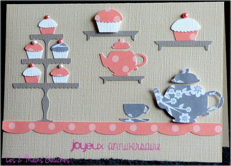 carte d'anniversaire comme un salon de thé romantique