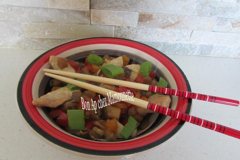 brunoise poivrons aubergine filet dinde sauce asiatique 016