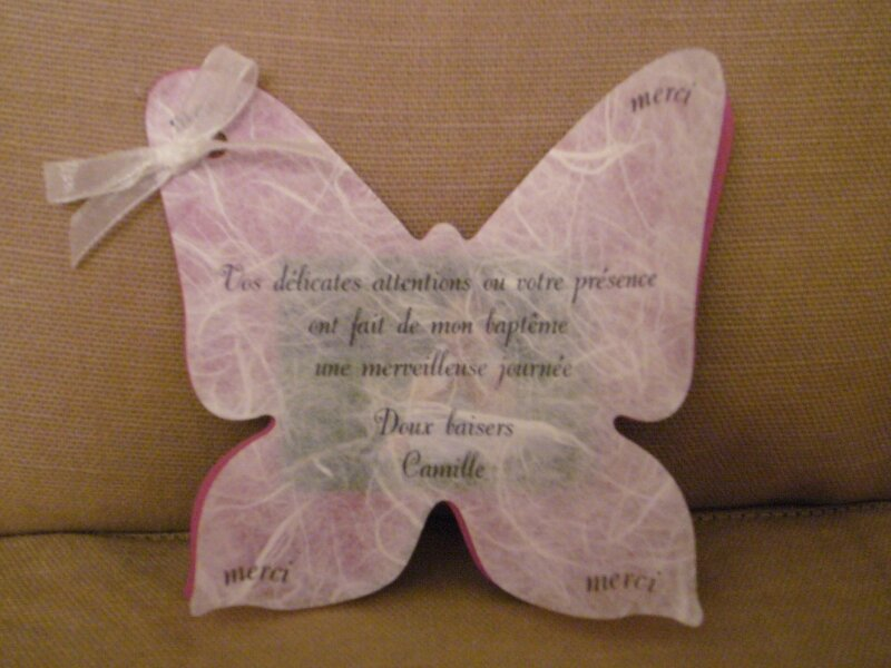 carte remerciements bapt u00eame camille - photo de scrap   faire-parts  invitations