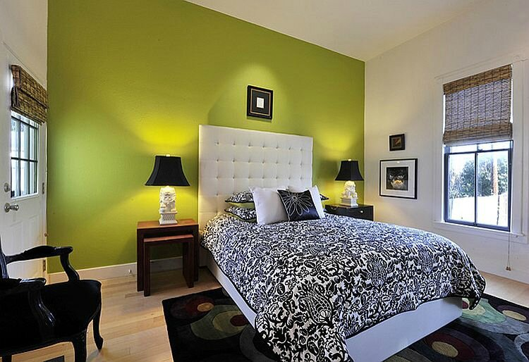 Green-accent-wall-for-the-gorgeous-bedroom
