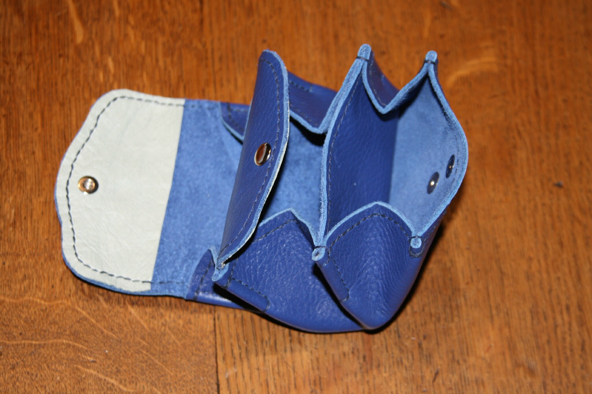 Porte monnaie 3 poches bleu (3)