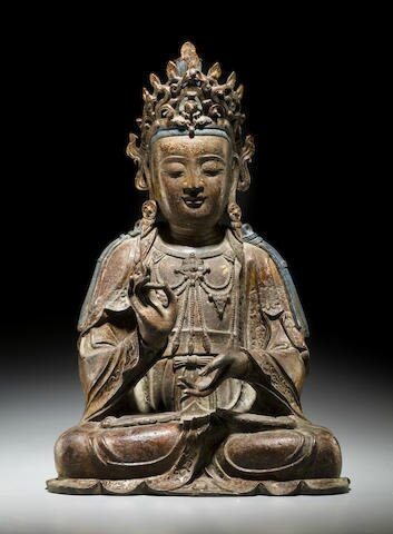 A large gilt lacquered bronze figure of a Bodhisattva, Ming dynasty