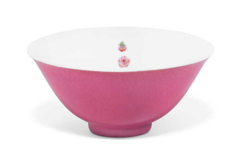 A rare pink-enamelled famille rose 'prunus' bowl, Yongzheng six-character mark within a double circle and of the period (1723-1735)