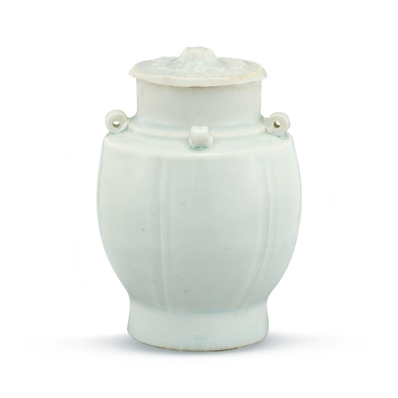 A small qingbai lobed jar and cover Song dynasty