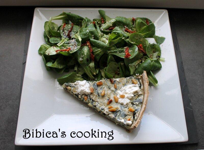 Tarte aux bettes (blettes) et au tofu soyeux {pâte rustique maison} part haut