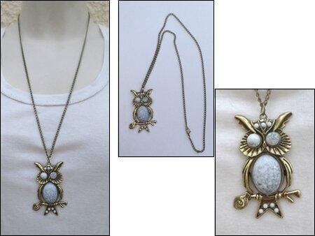 Pendentif Style Vintage Hibou Chouette Perle Jaspe Gris Métal Couleur Bronze