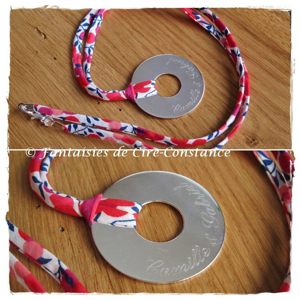 Collier médaille ajourée argent massif Liberty