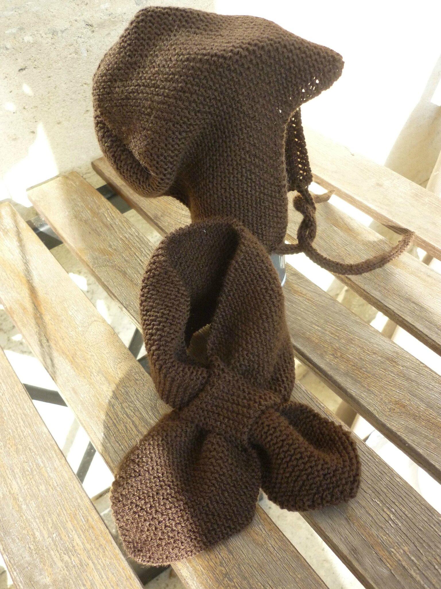 Bonnet et écharpe feuille pour Baptiste (taille... bébé ! je ne sais plus)