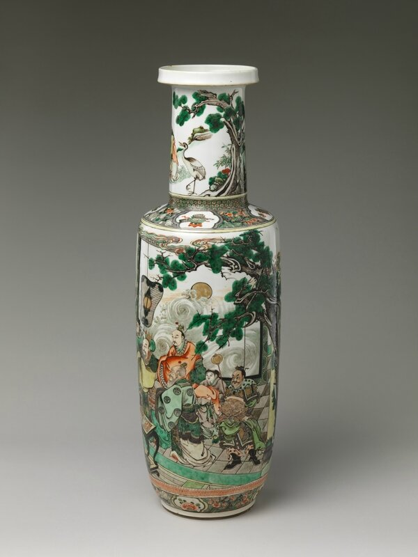 Vase with Immortals Offering the Peaches of Longevity, Qing dynasty (1644–1911), Kangxi period (1662–1722)