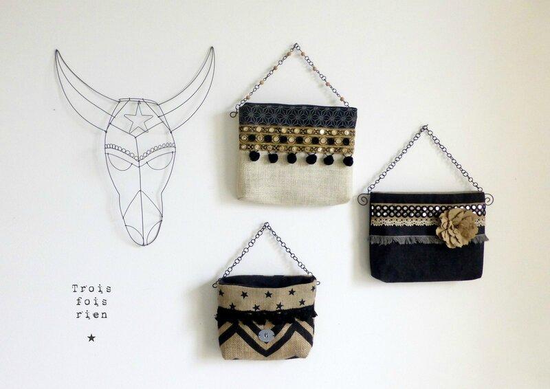 Vide poche mural, bohème'n'folk, tissu, lin, matières naturelles, déco bohème, déco ethnique, déco folk, trois fois rien (3)