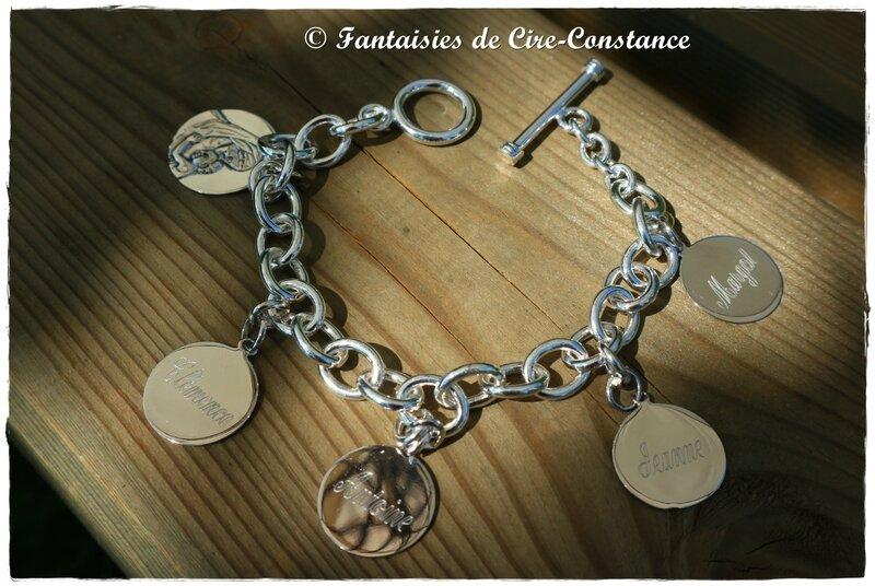 Bracelet mailles ovales médailles 15 mm gravées recto verso
