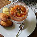 Soupe de peches au basilic et ses madeleines au citron