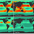 Predictive density map of an estimated 5 trillion plastic pieces polluting the world's oceans, split into 4 size categories