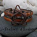 Elle aurait pu être en haut de mon sapin, mais cette étoile est au centre de ce bracelet tout cuivre en cuir satiné !
