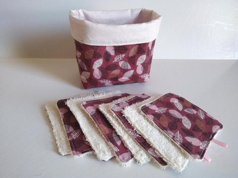Panier et lingettes bordeau- feuilles-rose (2)