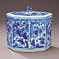 A fine and rare ming blue and white 'boys' octagonal box and cover, wanli six-character mark within a double circle and of the p