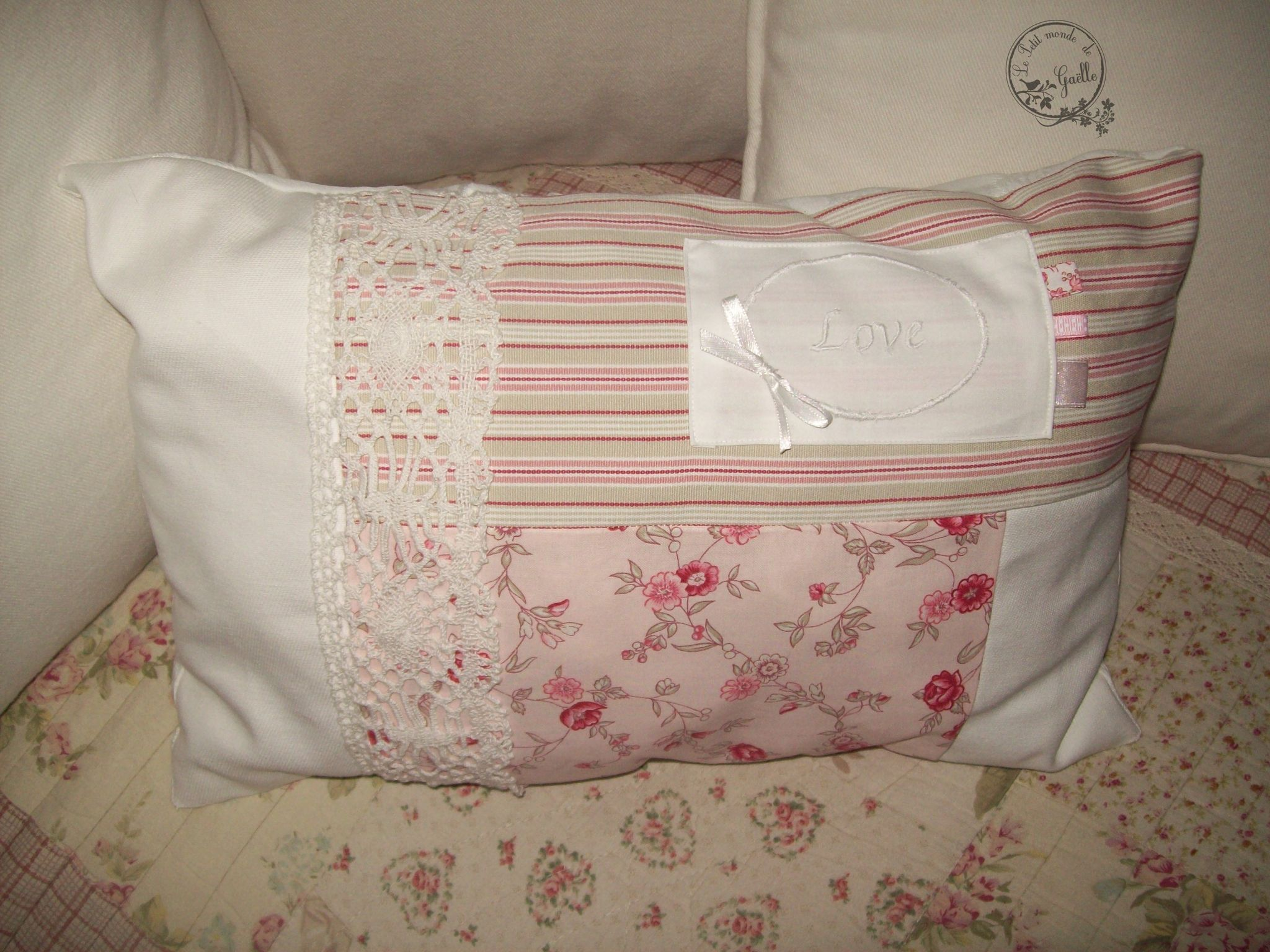 Coussin Shabby Patchwork Love...