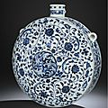 An extremely rare early ming blue and white flask, bianhu, yongle period (1403-1424)