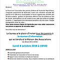 Invitation flocon : lundi 8 octobre