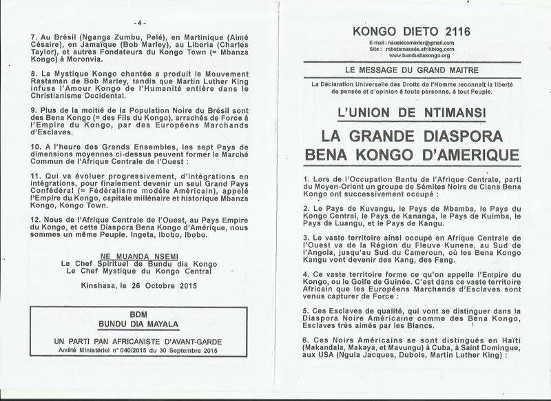 LA GRANDE DIASPORA BENA KONGO D'AMERIQUE a