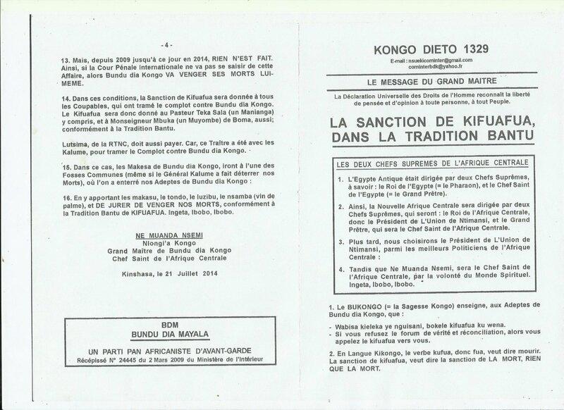 LA SANCTION DE KIFUAFUA DANS LA TRADITION BANTU a