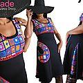 Imprimé crochet seventies en trompe l'oeil : robe féminine originale noire à dentelle rose fuchsia imprimé granny squares 70's