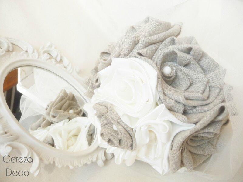 bouquet mariée original lin beige ivoire perle champetre campagne chic cereza deco