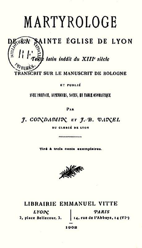 Martyrologe de la sainte Église de Lyon - 1