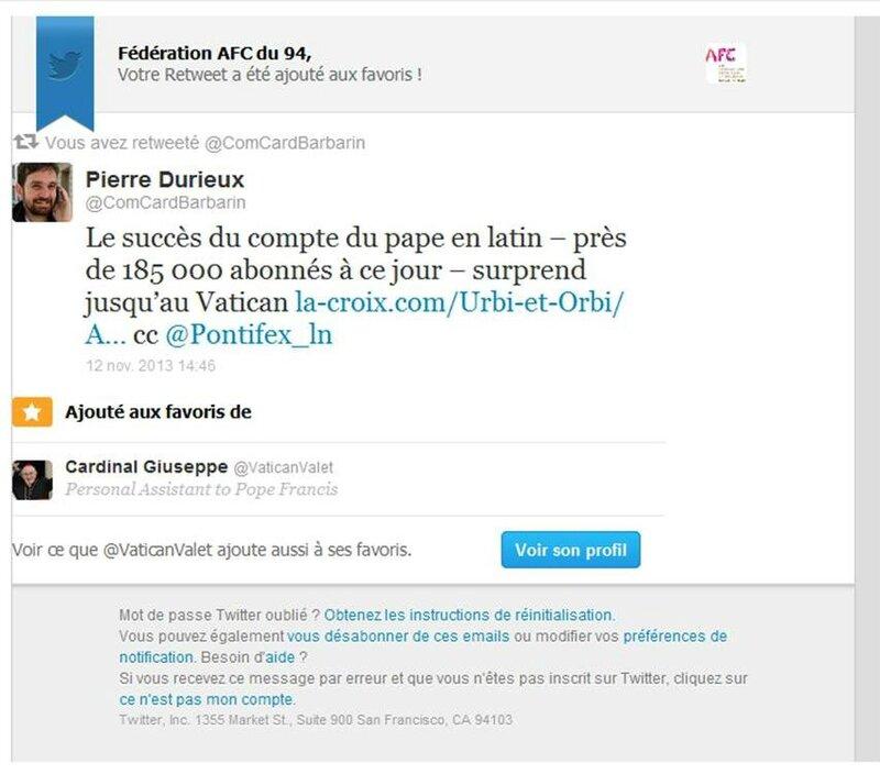 Retweet AFC Favori au Vatican