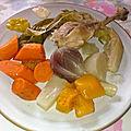 Cuisses de poule et légumes d'automne au pot