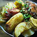 Poulet pommes de terre poivron légumes au four