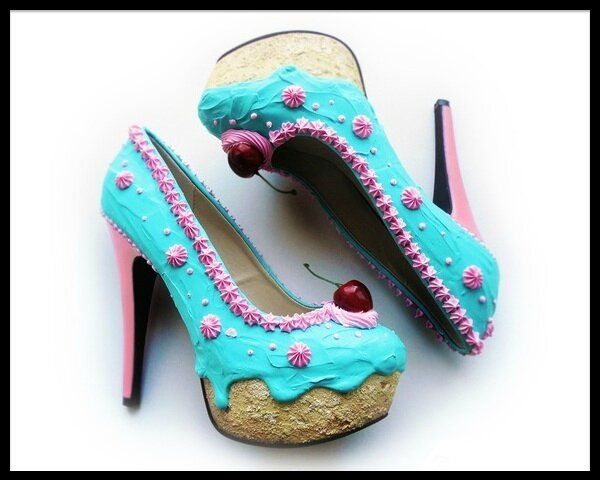 Shoe Bakery Cake Collection Teal and Pink Cake Heels