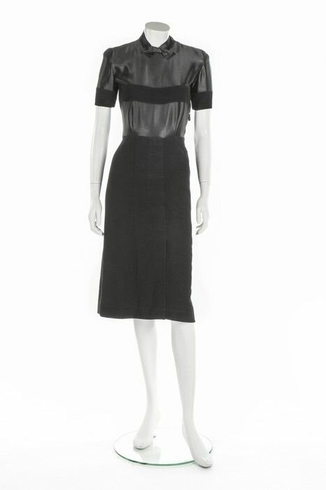 A rare and early Balenciaga couture black wool and satin dinner dress, probably Autumn-Winter 1937