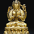 A gilt-bronze figure of avalokitesvara sadaksari, qing dynasty, 17th-18th century