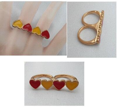 Bague 2 Doigts Coeurs Rouge Jaune Email Métal Couleur Doré Taille 17_18mm