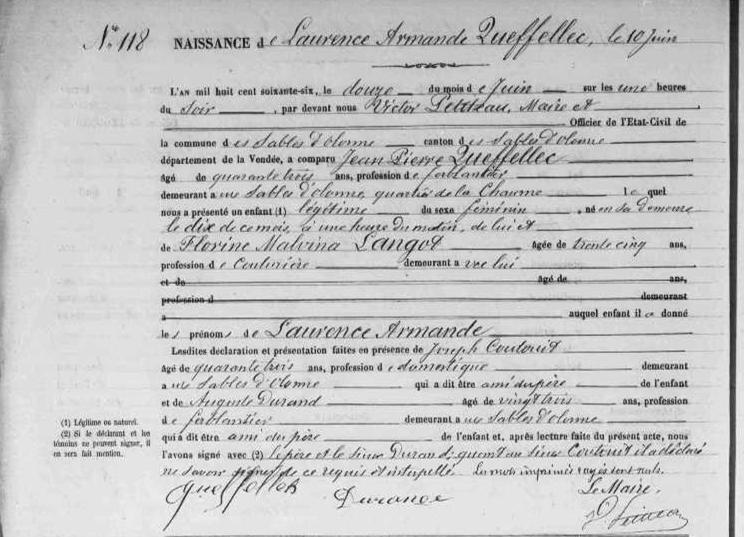 1866 le 12 juin Sables d'Olonne naissance Laurence Armande Queffellec_2