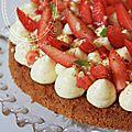 Moelleux amande-noisette, pralin, creme mouselline vanillee et fraises (sans gluten)