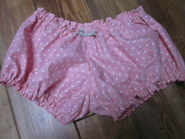 Culotte en coton rose à pois et noeud beige - taille M (2)
