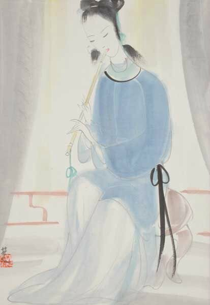 Lin Fengmian (1900-1991) Lady with Flute Mounted