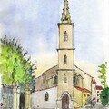 l'église de Salles d'Aude, esquisse matinale