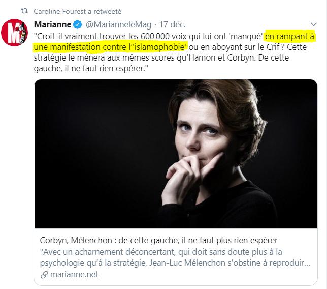 CarolineFourest-MelenchonRampeALaManifContreLIslamophobie