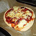 Pizza chorizo, poivron et mozzarella!